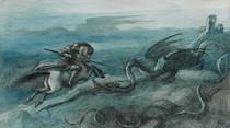 Richard Doyle - Knight on horseback attacking large dragon