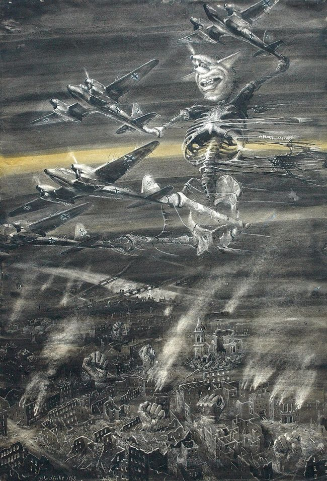 """Bronisław Wojciech Linke - """"Luftwaffe"""" from the series """"Stones shout"""", 1948"""