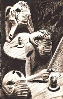 """Bronisław Wojciech Linke - Team, illustration for the book """"Conversations With Silence"""" by Pola Gojawiczynska, Warszawa, 1936"""